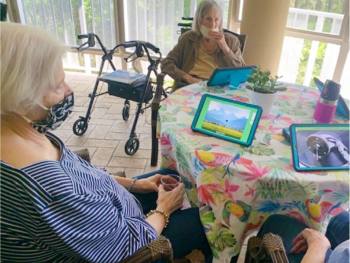 senior living residents in group activity