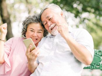 Senior living community residents using a video calling app